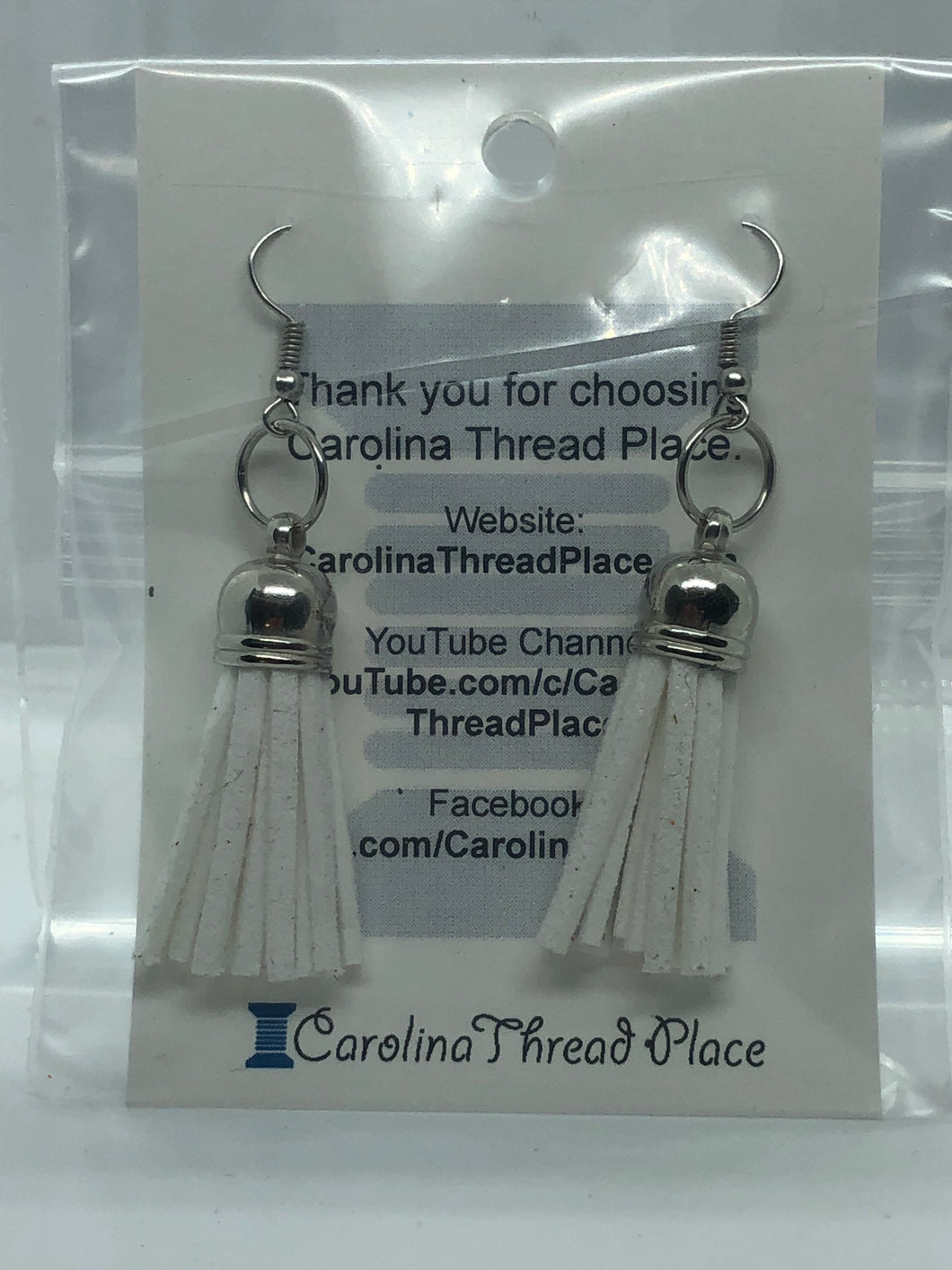 Silver Leather Tassel Earrings - 36