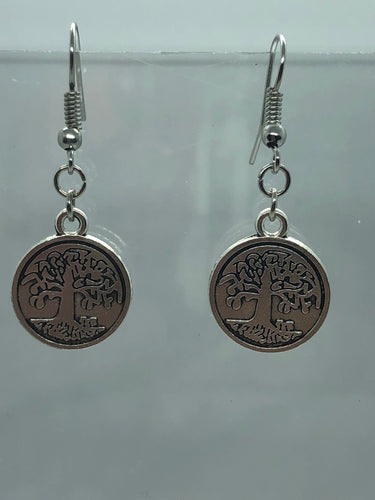 Silver Tree of Life Coin Earrings
