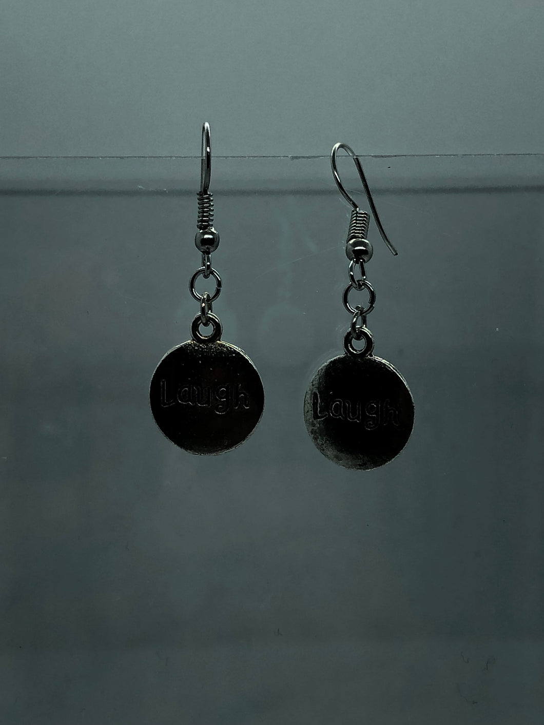 Silver Laugh Coin Earrings