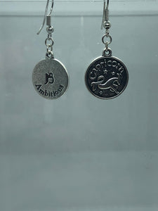 Silver Capricorn Coin Earrings