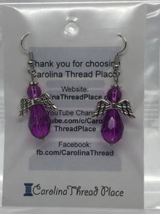 Large Silver and Purple Angel Earrings