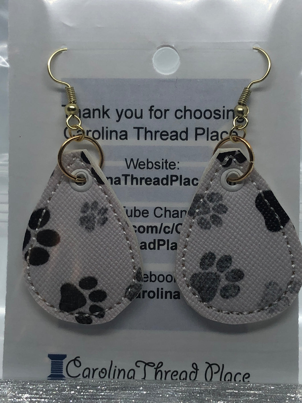 Gold and Grey Paw Vinyl Tear Drop Earrings - 3