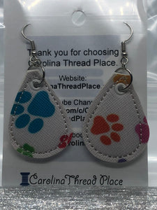 Silver and Color Paw Vinyl  Tear Drop Earrings - 2