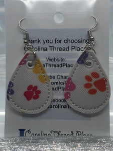 Silver and Color Paw Vinyl  Tear Drop Earrings - 4