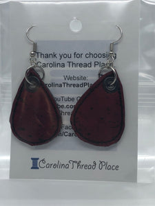 Silver and Red Cork Tear Drop Earrings - 3