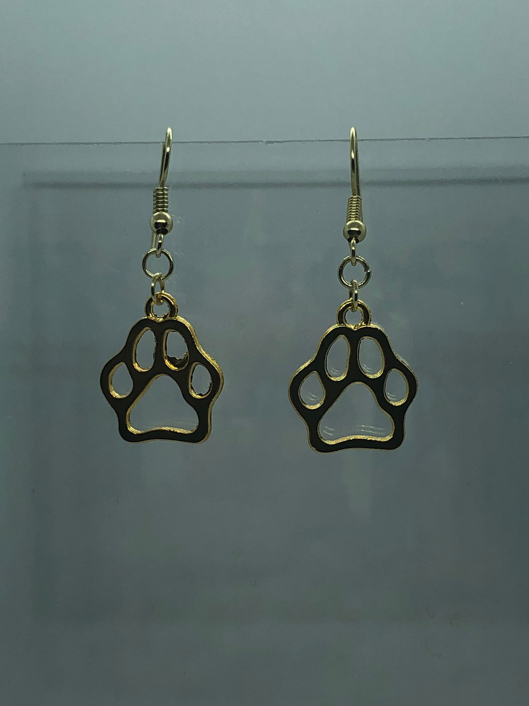 Large Gold Paw Earrings