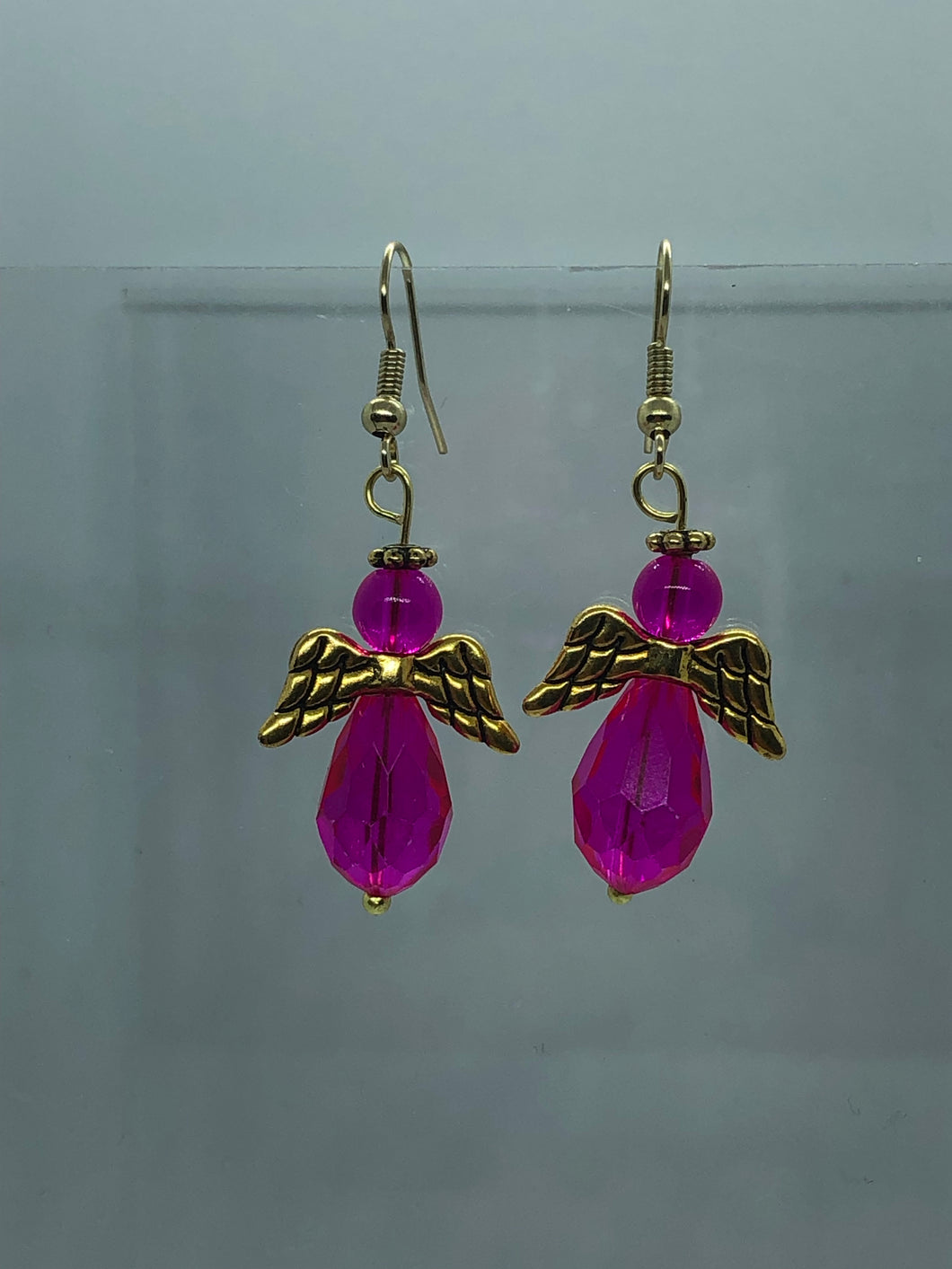 Large Gold And Dark Pink Angel Earrings
