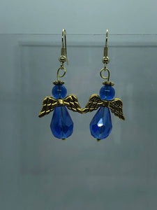Large Gold And Light Blue Angel Earrings