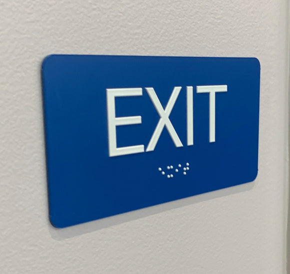 ADA Exit Signs with Braille, Complaint ADA Signage for public buildings, Low bulk pricing, made in the USA.