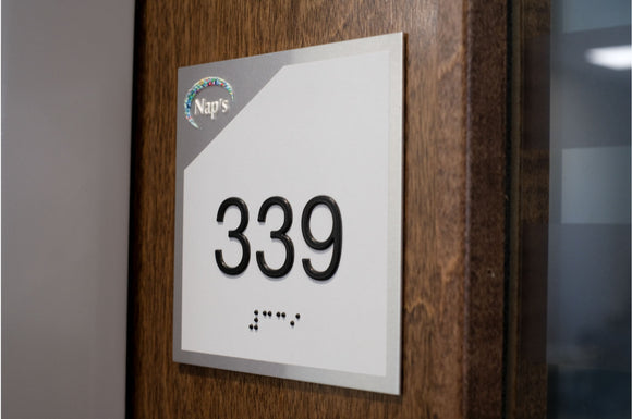 Custom ADA Compliant Room Number Signs with Braille