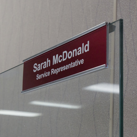Nap Nameplates, Glass Cubicle Signs with Nameplates, Add your company logo!  Great for the office