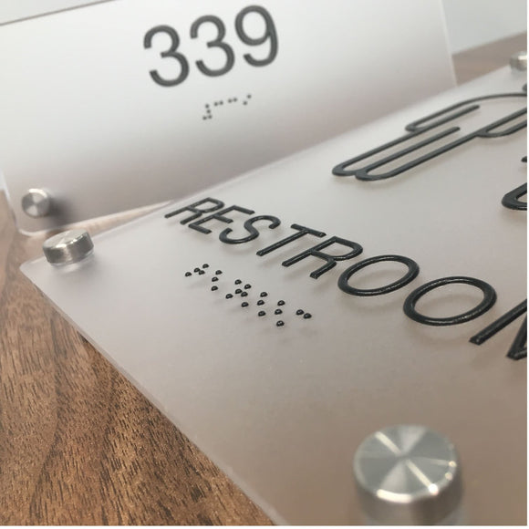 Custom ADA Signs, Frosted Acrylic ADA Signs with tactile lettering and Braille, Wall Offsets for installation