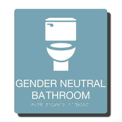 ADA Compliant Gender Neutral Restroom Sign with Braille - NapADAsigns