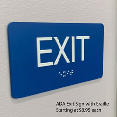 "Small ADA Exit Signs with Braille in 23 Colors, 6"" x 3"" - NapADAsigns.com"