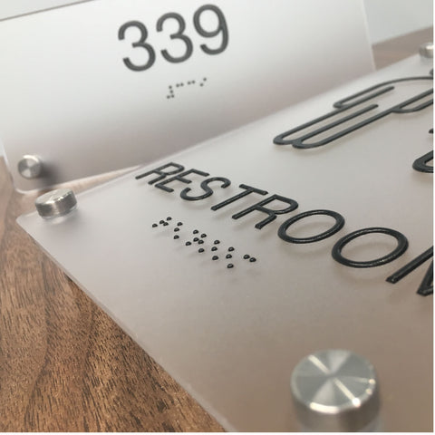 Frosted Acrylic ADA Signs with Braille and Black, Tactile Printing - NapADASigns.com