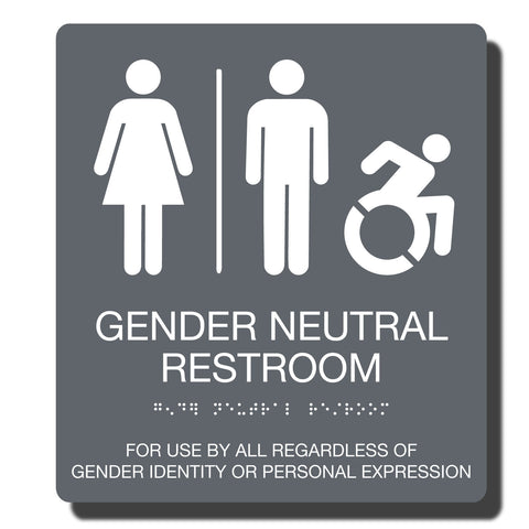 ADA Compliant Gender Neutral Restroom Sign_ADA Braille Sign_Durable Plastic ADA sign_NapADAsigns