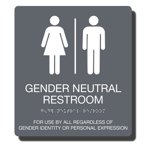 ADA Compliant Gender Neutral Restroom Sign with Braille _ 23 Color Combinations_durable Plastic ADA sign_NapADAsigns