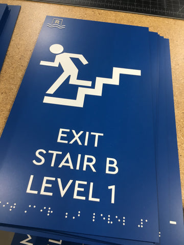 ADA Exit Sign with Braille, ADA compliant interior signs, NapADAsigns.com
