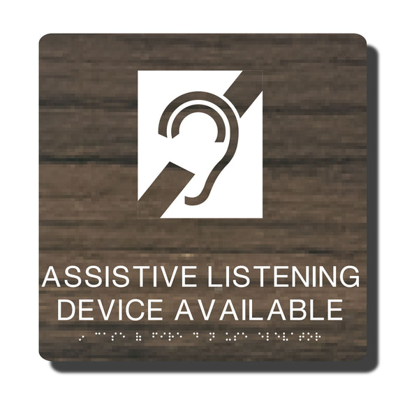 Standard ADA Sign - NapADASigns - ADA Assistive Listening Sign with Braille - 23 Colors - 10