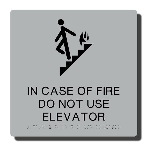Standard ADA Sign - NapADASigns - ADA In Case of Fire Sign with Braille - 23 Colors - 10