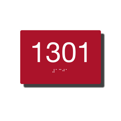 "Custom ADA Room Number Sign with Braille - 14 Colors - 6"" x 4"""