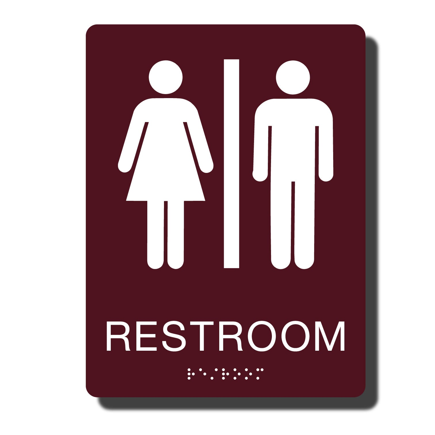 Standard ADA Sign - NapADASigns - ADA Restroom Sign with Braille - Burgundy with White - 6