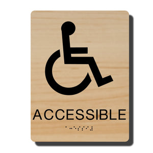 "Standard ADA Braille Sign - ADA Compliant Accessible Wheelchair Sign - 14 Colors - 6"" x 8"" - napadasigns"