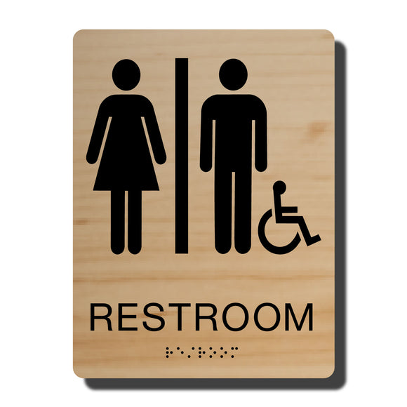 Standard ADA Sign - NapADASigns - ADA Handicap Restroom Sign with Braille - 23 Colors - 6