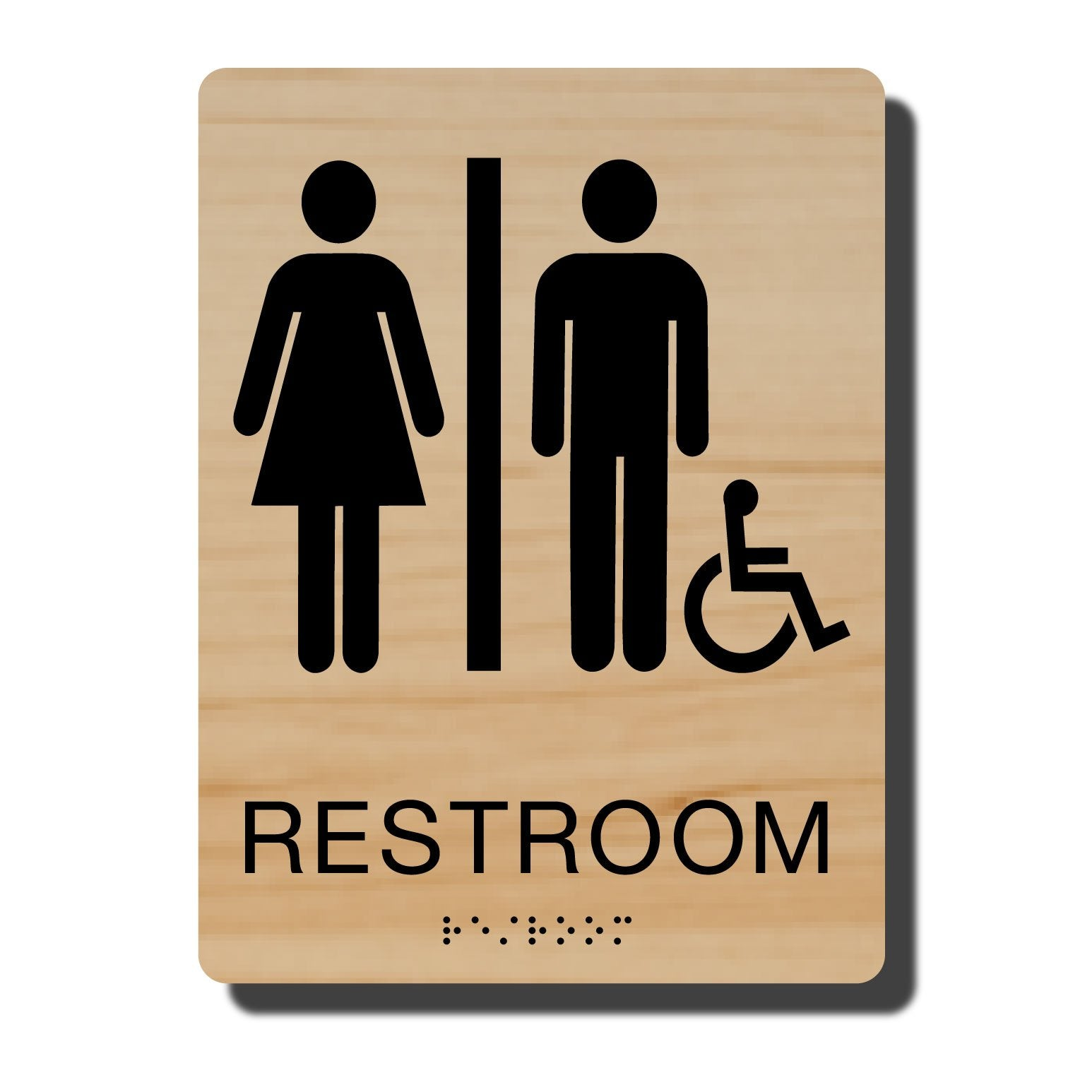 Standard ADA Sign - NapADASigns - ADA Handicap Restroom Sign with Braille - Cashew with Black - 6