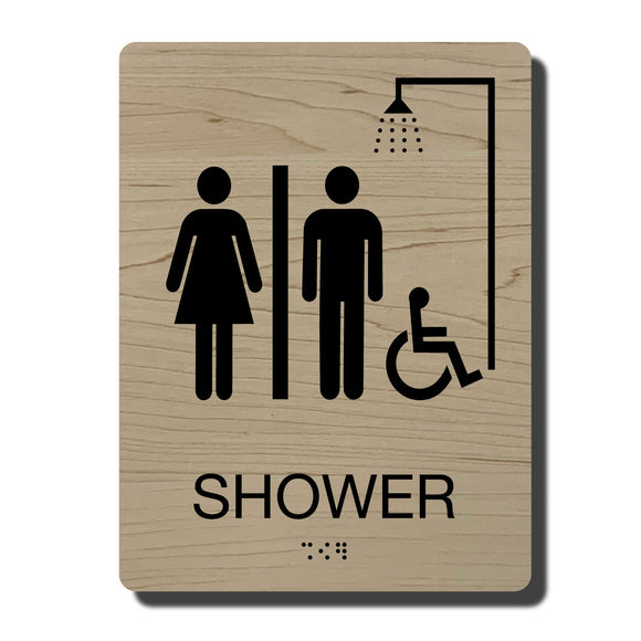 ADA Accessible Shower Signs - ADA Compliant - Available in 14 color combinations - napadasigns.com