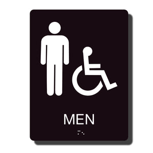 "Standard ADA Sign - NapADASigns - ADA Men Handicap Restroom Sign with Braille - 23 Colors - 6"" x 8"" - napadasigns"