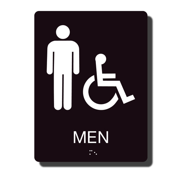 Standard ADA Sign - NapADASigns - ADA Men Handicap Restroom Sign with Braille - 23 Colors - 6