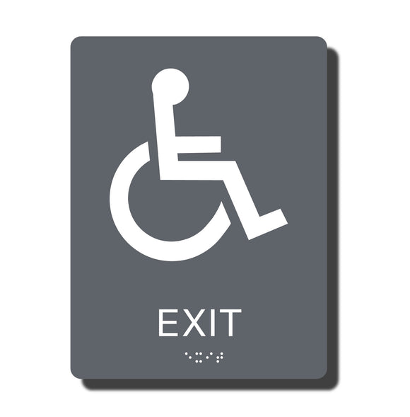 Standard ADA Sign - NapADASigns - ADA Exit Sign with Braille - 14 Colors - 6