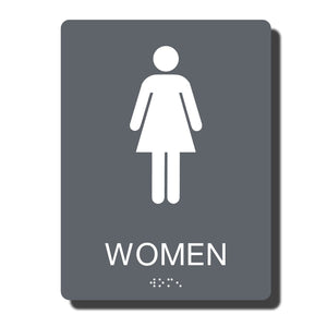 "Standard ADA Sign - NapADASigns - ADA Women Restroom Sign with Braille - 14 Colors - 6"" x 8"" - napadasigns"