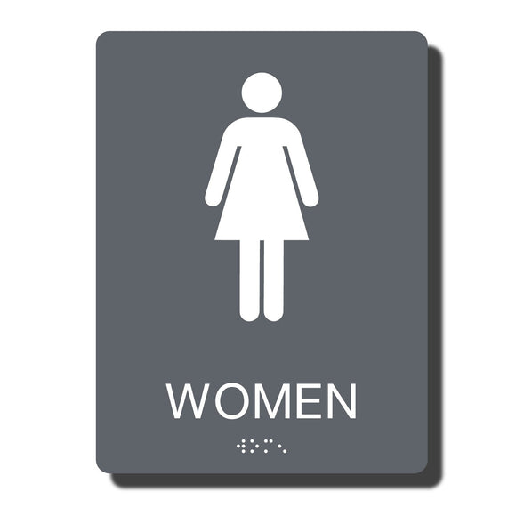 Standard ADA Sign - NapADASigns - ADA Women Restroom Sign with Braille - 14 Colors - 6