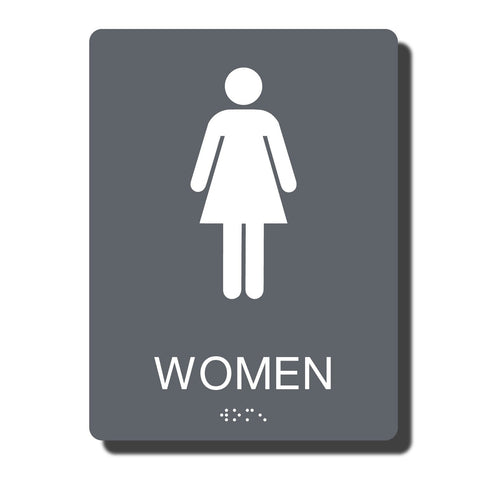"ADA Women Restroom Sign with Braille - 14 Colors - 6"" x 8"""