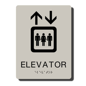 "Standard ADA Sign - NapADASigns - ADA Elevator Sign with Braille - Putty with Black - 6"" x 8"" - napadasigns"