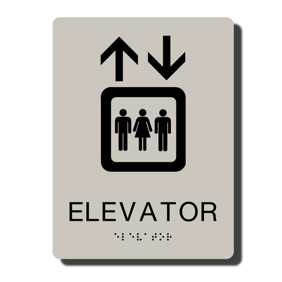 Standard ADA Sign - NapADASigns - ADA Elevator Sign with Braille - Putty with Black - 6