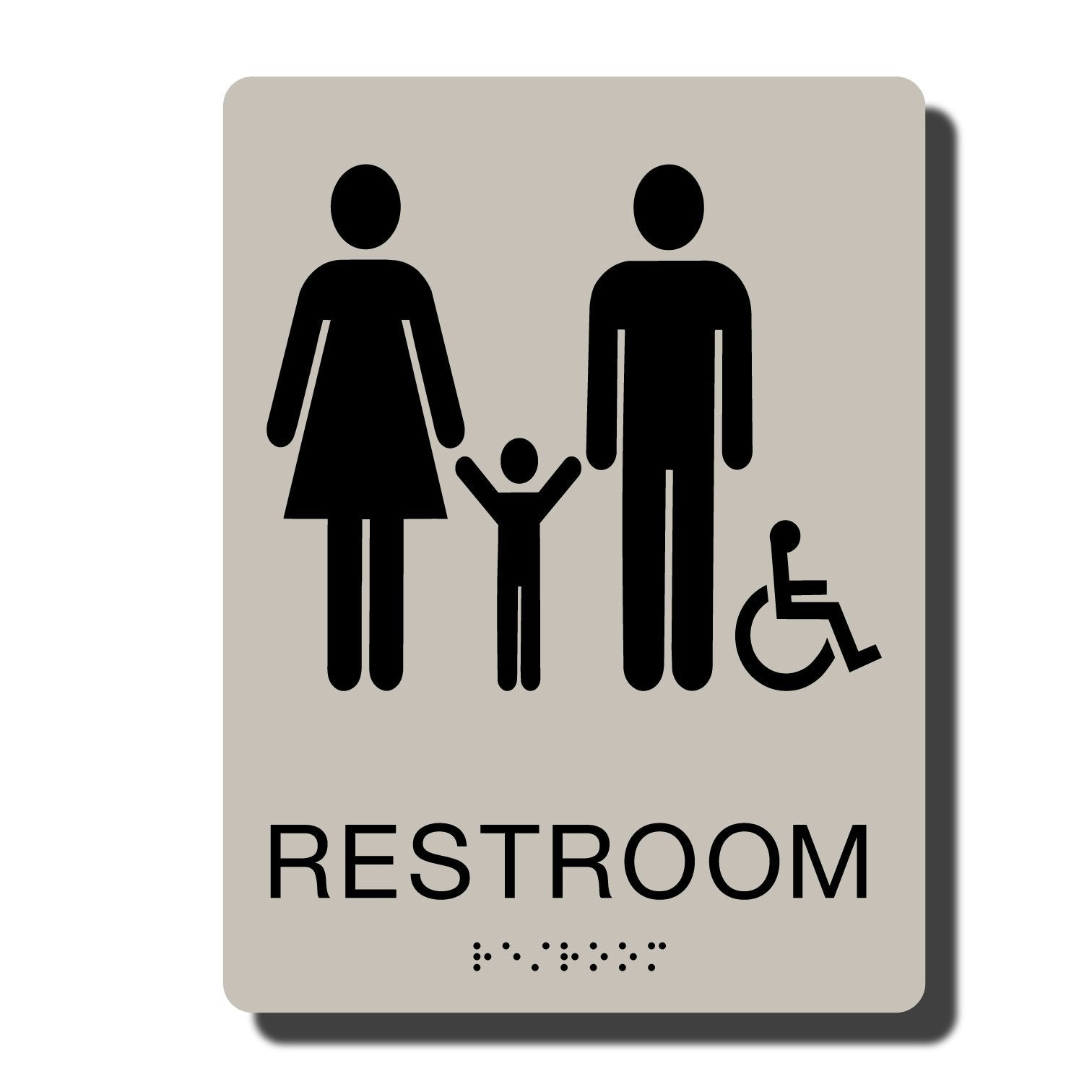 Standard ADA Sign - NapADASigns - ADA Family Handicap Restroom Sign with Braille - 14 Colors Available - 6