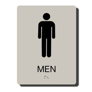 "Standard ADA Sign - NapADASigns - ADA Men Restroom Sign with Braille - 14 Colors - 6"" x 8"" - napadasigns"