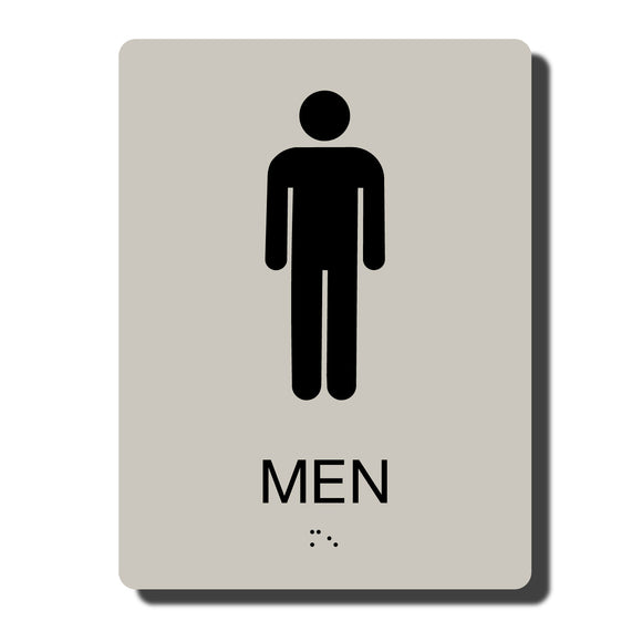 Standard ADA Sign - NapADASigns - ADA Men Restroom Sign with Braille - 14 Colors - 6
