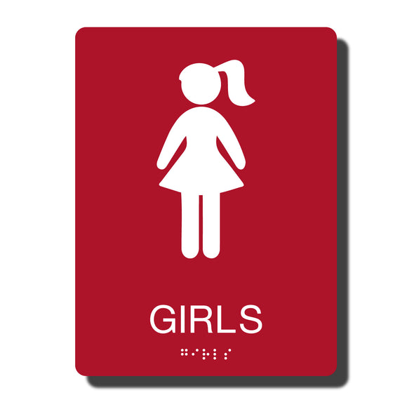 Standard ADA Sign - NapADASigns - ADA Girl Restroom Sign with Braille - 14 Colors - 6