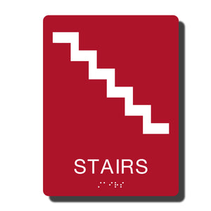 "Standard ADA Sign - NapADASigns - ADA Stair Sign with Braille - 23 Colors - 6"" x 8"" - napadasigns"