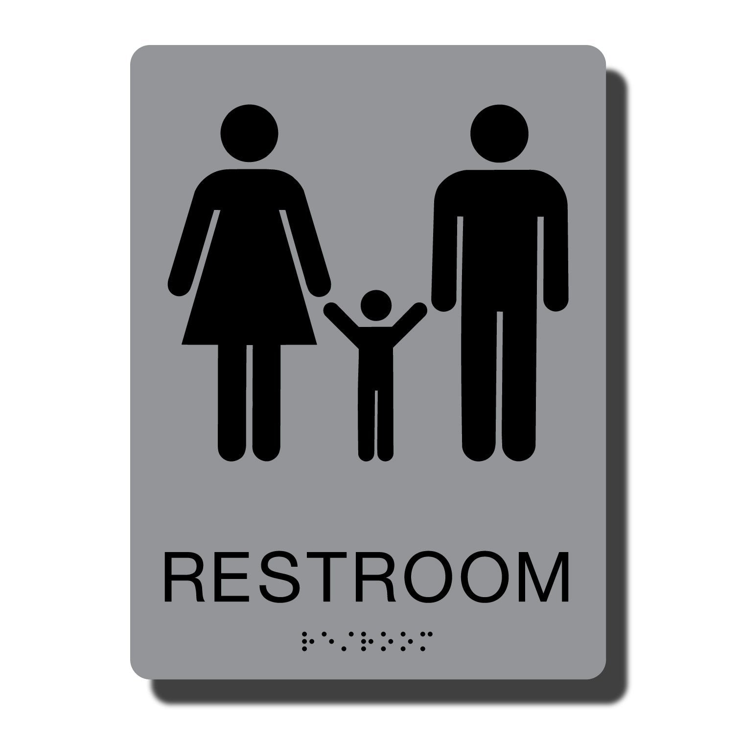 Standard ADA Sign - NapADASigns - ADA Family Restroom Sign with Braille - Silver with Black - 6