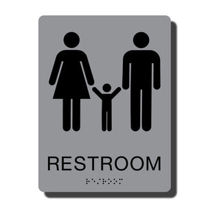 "Standard ADA Sign - NapADASigns - ADA Family Restroom Sign with Braille - 14 Colors - 6"" x 8"" - napadasigns"