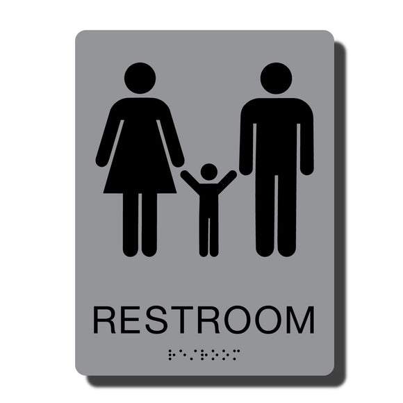 Standard ADA Sign - NapADASigns - ADA Family Restroom Sign with Braille - 23 Colors - 6