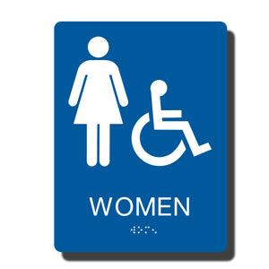 "Standard ADA Sign - NapADASigns - ADA Women Handicap Restroom Sign with Braille - 14 Colors - 6""x8"" - napadasigns"