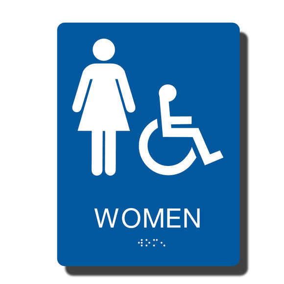 Standard ADA Sign - NapADASigns - ADA Women Handicap Restroom Sign with Braille - 14 Colors - 6