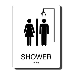 ADA Shower Signs - ADA Compliant - Available in 14 color combinations - napadasigns.com