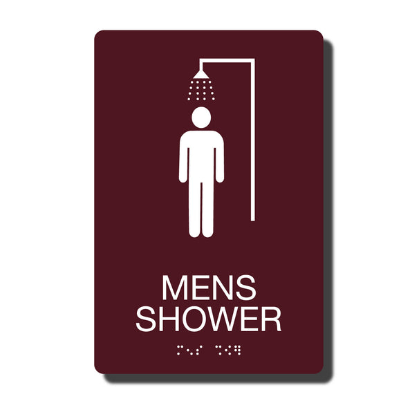 ADA Mens Shower Signs - ADA Compliant - Available in 14 color combinations - napadasigns.com